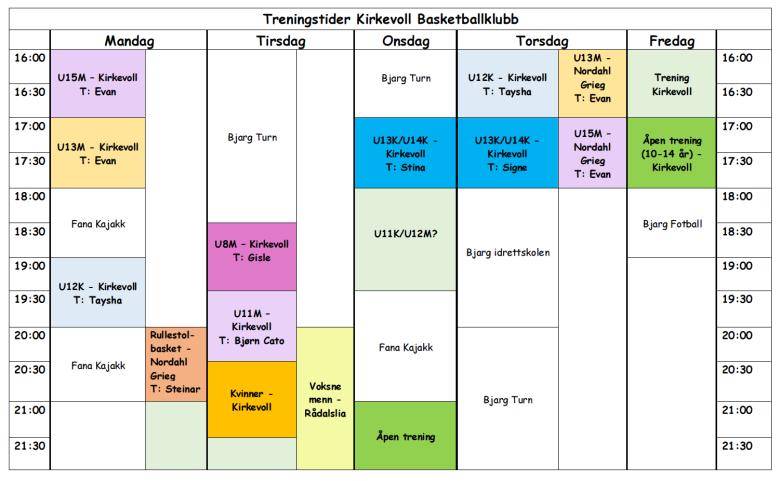 Treningstider 2013-2014
