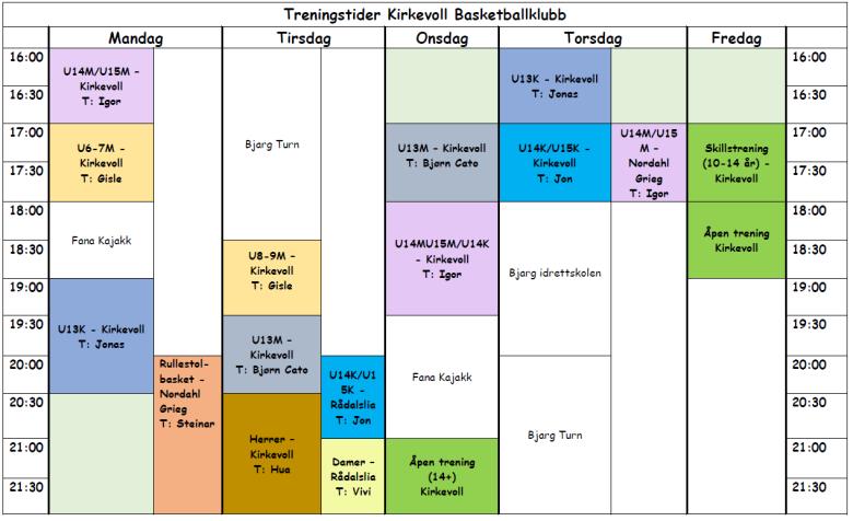 Treningstider 2014-2015